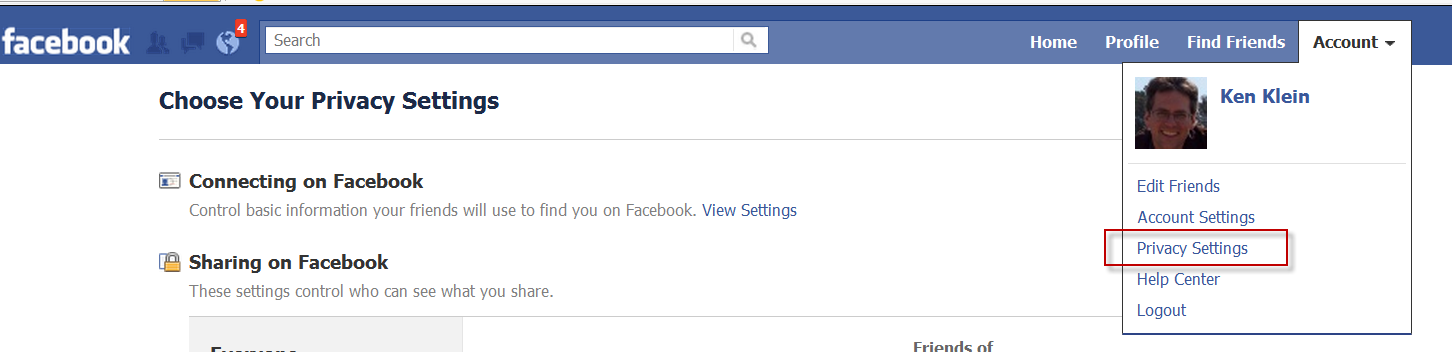 Facebook Account/Privacy Menu Screenshot